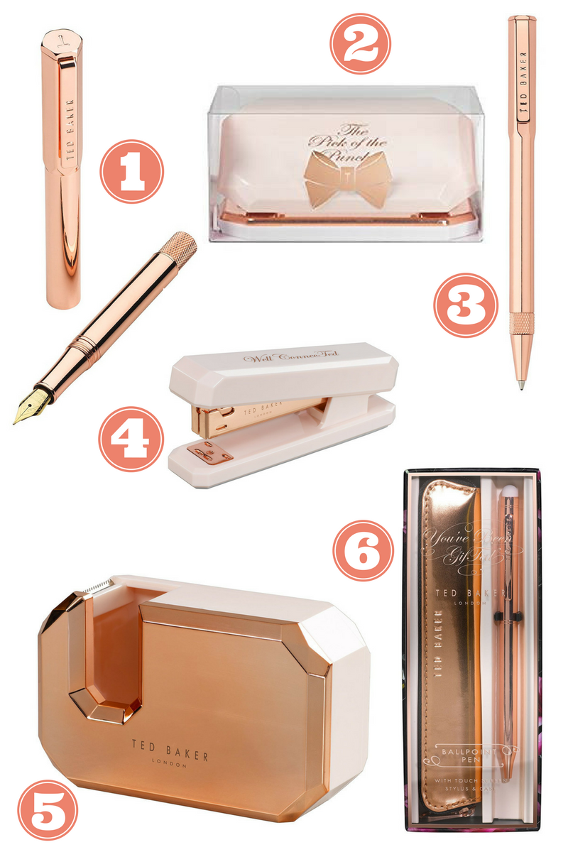 ted baker rose gold stationary