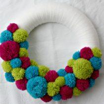 colourful pom pom wreath