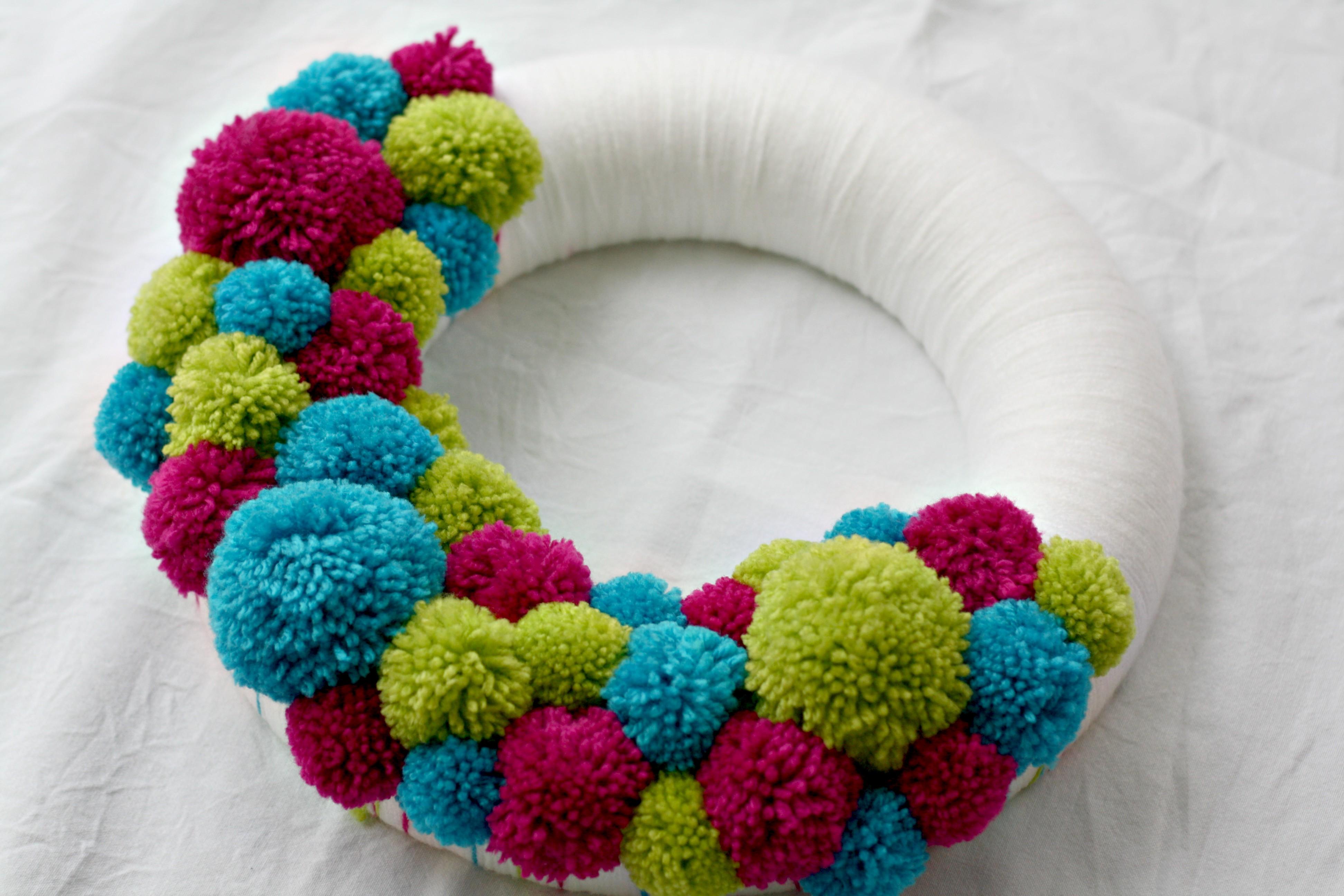 Christmas Wreath Ideas Colourful Pom Pom Wreath