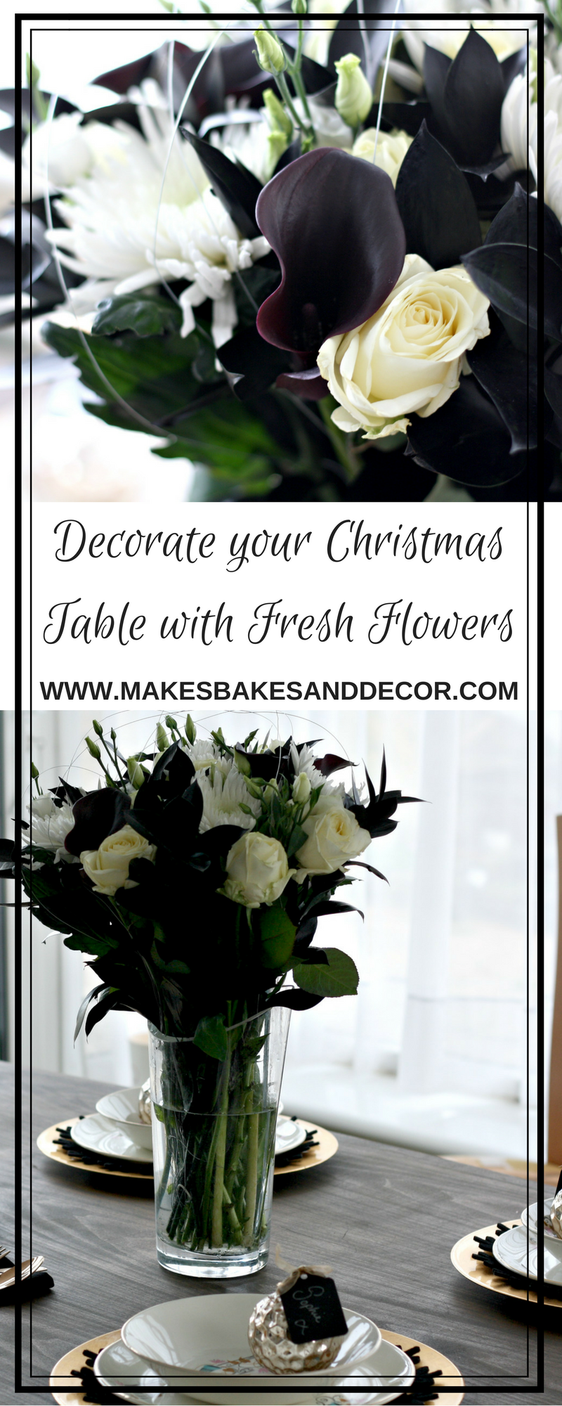 decorate your christmas table with fresh flowers